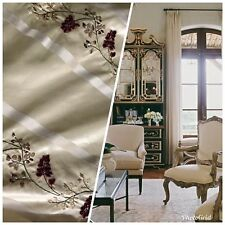 NEW! Designer 100% Silk Taffeta Embroidered Fabric- Ivory Burgundy Stripe Floral