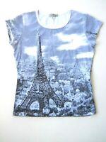 VINTAGE SUZIE Womens Medium T Shirt Top Paris Rhinestones Short Sleeve