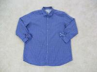 Robert Graham Button Up Shirt Adult 2XL XXL Blue Plaid Casual Flip Cuff Mens A02