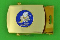 SEABEE Web Belt & buckle - brass buckle & black web belt - USN SeaBees