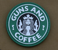 """PVC / Rubber Patch """"Guns and coffee"""" with VELCRO® brand hook"""