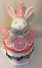 Katherine's Collection Retired Pink Bobble Bunny Rabbit Tabletop Display