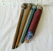 antique wooden bobbin spindles textile wool thread spools