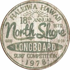 North Shore Surf Vintage Rustic Retro Round Tin Metal Sign 12 x 12in