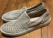 FRYE Gemma Slip On Woven Sneaker Leather Suede Taupe Beige Tan Women Sz 10 M