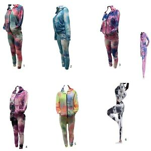 New fashion stretch ruched scrunch tie dye hoodie yoga pant track set-SM/LXL
