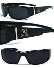 New Choppers Bikers Mens Sunglasses Black Frame Smoke Lens - Skull Logo UV400
