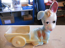 Beautiful Vintage Colorful Donkey Mule Jackass Pulling Wagon Glazed Planter