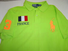 "MENS RALPH LAUREN LIME ""FRANCE"" W/ORANGE PONY S/S ""CUSTOM"" POLO SHIRT SIZE S"