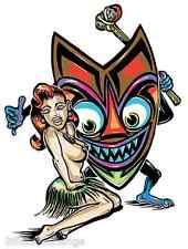 Island Girl &Tiki Sticker Decal Kustom  Von Franco VF10