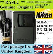 Genuino, originale Nikon MH-63 charger,en-el10, COOLPIX S500 S510 S520 S570 S600