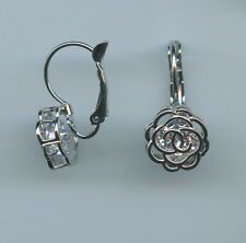 RHODIUM PLATED 2 CARAT EACH 4MM ROUND CUT CZ ROSE LEVERBACK EARRINGS