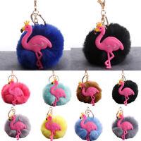 CO_ KE_ Cute Crown Flamingo Fluffy Pompom Key Ring Holder Keychain Car Bag Decor