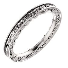 SOLID 14K WHITE GOLD 2.60 MM DESIGN ENGRAVED WEDDING BAND RING SIZE 4 - 8