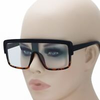 Men's OVERSIZE SHIELD Style Clear Lens EYE GLASSES Fashion Flat Top Thick Frame