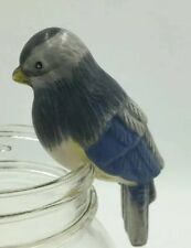 "Yankee Candle Blue Bird Jar Clinger Sitter Ornament Ceramic 3 1/2"""