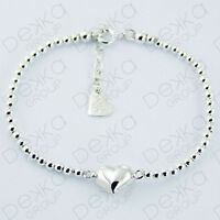 Genuine 925 Sterling Silver Puffed Heart Love Bracelet Silver Bead Adjustable