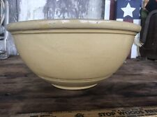 """Vintage 10"""" Pottery Mixing Bowl American Yellow / Brown Simple Style"""