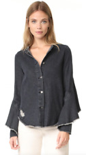 ROBERT RODRIGUEZ L/S Button Down Ruffle Denim Shirt Jacket Top Black S $265