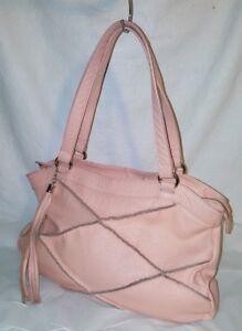 """NYLA NOOR Pink Leather """"SOHO"""" Shoulder Bag Tote Handbag"""