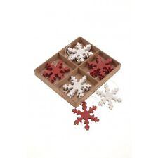 Twelve Scandi / Nordic Red and Cream Wooden Hanging Snowflake Xmas Decorations