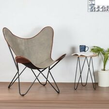 Retro Butterfly Chair Cotton Canvas Firm Seat Metal Hairpin Frame Comfortable