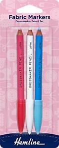 HEMLINE Fabric Marker Dressmaker Pencils 3 Colour Chalk Wipe Off Damp Cloth H294