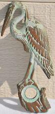 Vintage Brass/Bronze Crane Heron Stork Shorebird Doorbell Button Cover Frame Old