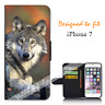 For Apple iPhone 7 Wallet Flip Phone Case Cover Real Wolf Y00944