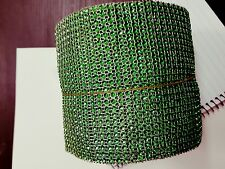 24 Row green Diamonte Crystal Effect Rhinestone Cake Decoration Ribbon Mesh