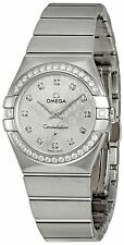 Omega Quartz (Battery) Stainless Steel Strap Round Watches