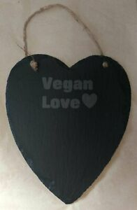 'Vegan Love' Large Natural Heart Slate With Rope - Sustainable Gift