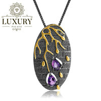 Natural Amethyst Genuine 925 Sterling Silver Handmade Branch Pendant Necklace