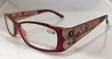 Reddish Brown Plastic Frame Reading Glasses with Floral Design +2.00 Lens