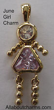 24K GOLD JUNE GIRL BIRTHSTONE BRAT / BABY KID CHARM