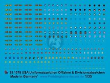 Peddinghaus 1/35 US Uniform and Divisional Officer Insignia for Tank Troops 1078
