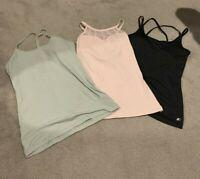 Womens M Green Pink Black Shelf Bra Active Tank Top Shirt Thin Strap Active Gym