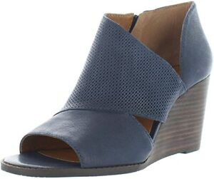 Lucky Brand Womens Jedrek Leather Peep Toe Wedge Boots
