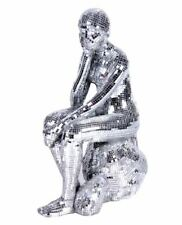 """New Silver Glass Mosaic Thinking Lady 13"""" Statue  Sculpture Home Gift Decor"""