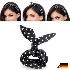 Drahthaarband Stirnband Kopfschmuck Haarband Polka Punkt Schwarz Rockabilly