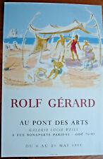 """AFFICHE ROLF GÉRARD1955- LUCIE WEIL """"AU PONT DES ARTS"""" PARIS- 64X42CM- MOURLOT"""