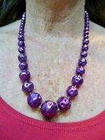 Vintage 1950's Purple Graduated Bead Necklace Lucite