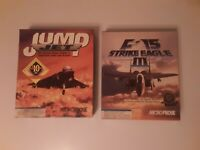 "CIB Jump Jet and F-15 Strike Eagle III IBM 3.5"" Disks Big Box PC 1992 MicroProse"