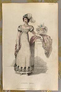1822 Ackermann's Repository Regency Hand Col Fashion Plate Evening Dress