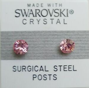 Light Pink Round Circle Stud Earrings 6mm Crystal Made With Swarovski Elements