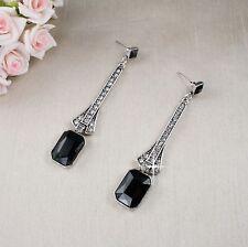 E15 Long Art Deco Gatsby 1920s Style Black Crystal Stud Dangle Earrings