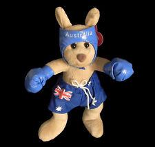 Australian Souvenir Standing Boxing Kangaroo with Flag Shorts Plush Toy Large