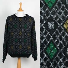 MENS VINTAGE 80'S 90'S KNIT JUMPER SWEATER ARGYLE PATTERN GRUNGE LAMBSWOOL XXL