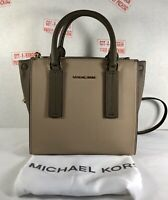 Michael Kors Alessa Medium Color-Block Pebbled Leather Satchel Crossbody Bag