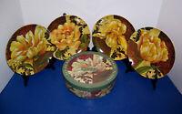 "Pamela Gladding ""Fiori"" 4 Dessert Salad Plates (8"") Yellow Flowers w/ Box NICE"